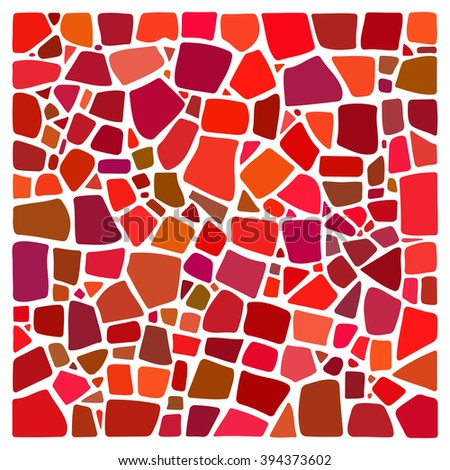 Colorful mosaic background.  NOT a PATTERN. Mosaic style square. Ceramic tile fragments. Abstract Vector Mosaic background. Easy to recolor.  - stock vector