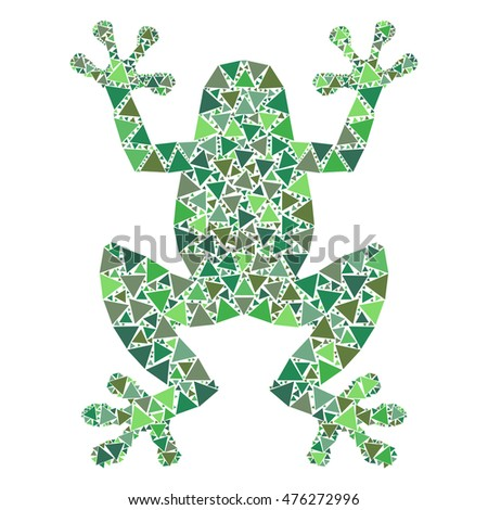 Colorful mosaic frog isolated on white background.