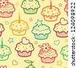 Colorful muffins seamless pattern background - stock vector