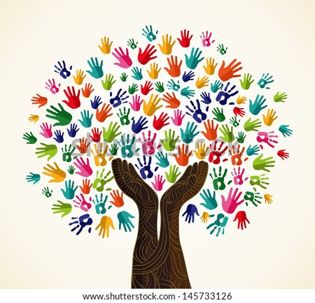 Colorful multi-cultural integration concept tree set. Vector file layered for easy manipulation and custom coloring. - stock vector