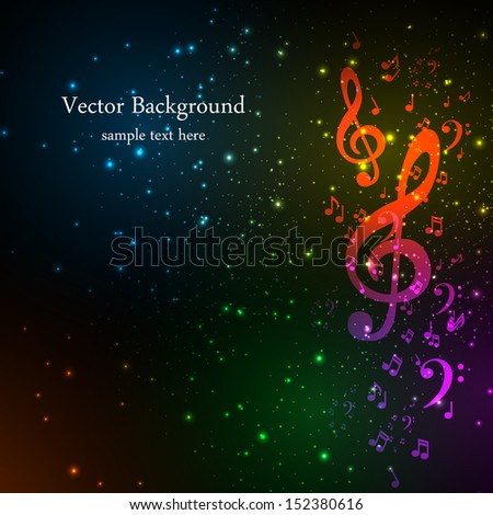 Colorful music background, easy editable - stock vector