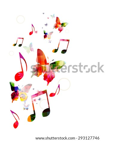 Colorful music background with butterflies - stock vector