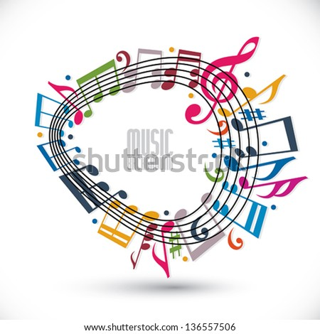 Colorful music background with clef and notes, music sheet in rounded frame, musical theme template for your design.