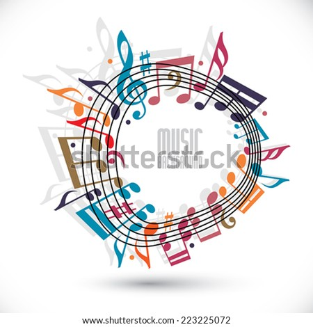 Colorful music background with clef and notes, music sheet in rounded frame, musical theme template for your design. - stock vector
