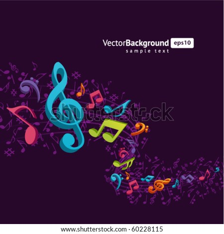 Colorful music background with fly notes - stock vector