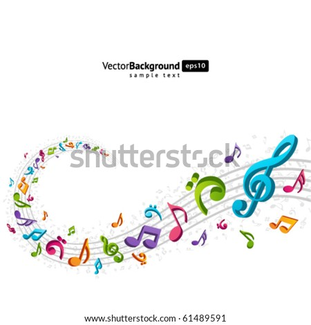 Colorful music background with fly notes. Eps 10 - stock vector