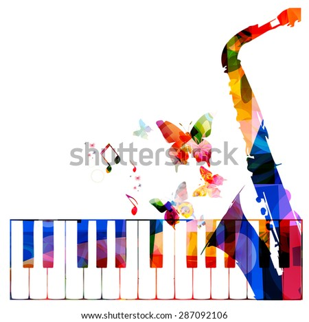 Colorful music background with instruments - stock vector