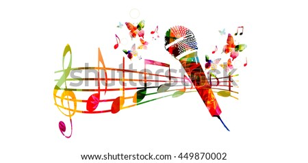Colorful music background with microphone and music notes - stock vector