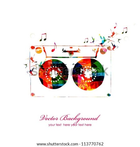 Colorful music background with music tape. Vector - stock vector