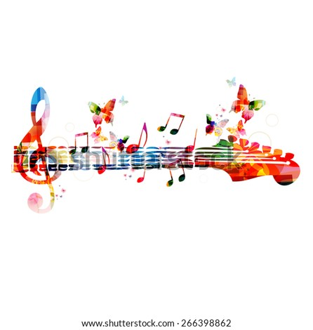 Colorful music design with butterflies - stock vector
