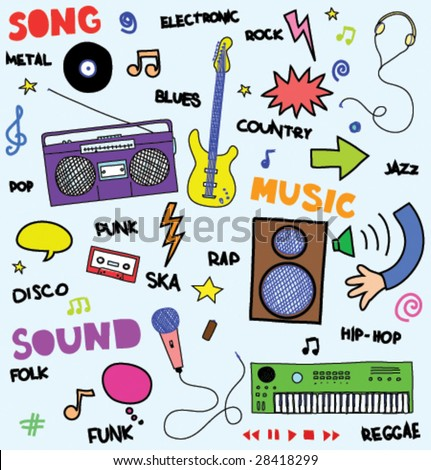 colorful music doodles - stock vector