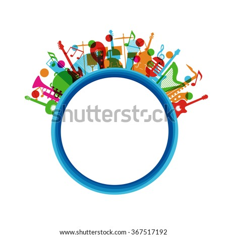colorful music instrument poster, isolated on white background - stock vector