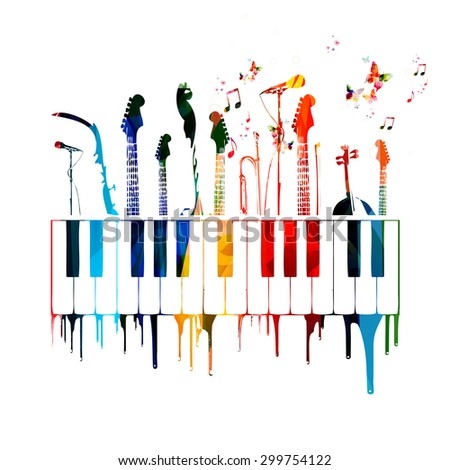 Colorful music instruments background with butterflies - stock vector