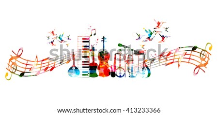 Colorful music instruments background with hummingbirds - stock vector