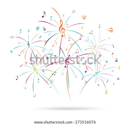 Colorful music notes popping out  - stock vector