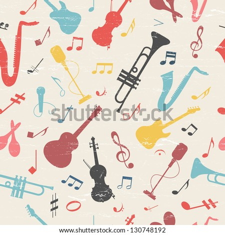 Colorful music seamless pattern. Vector Illustration, eps10, contains transparencies. - stock vector