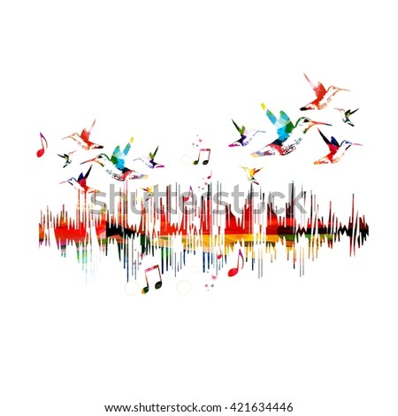 Colorful music waves with hummingbirds - stock vector