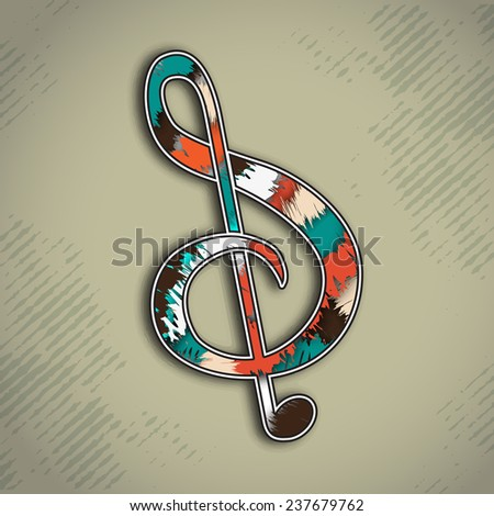 Colorful musical g-clef on stylish background. - stock vector