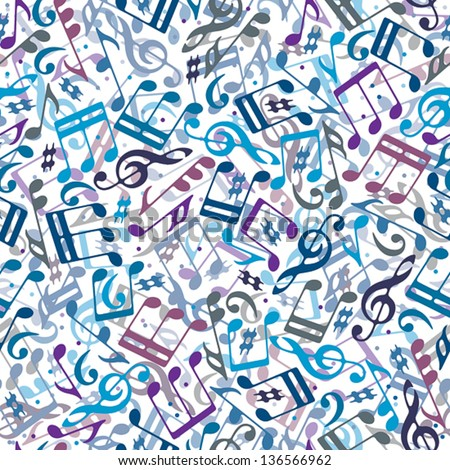 Colorful musical notes seamless pattern, vector background. - stock vector
