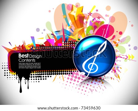 Colorful Musical theme vector disco background with circles and splash, Editable Illustration - stock vector