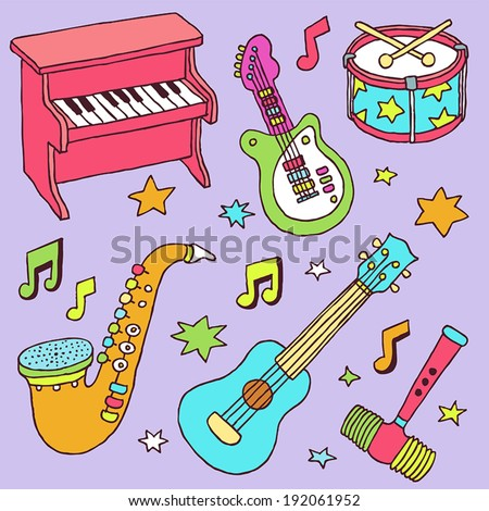 Colorful musical toy instruments. Hand drawn. Vector illustration.