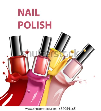 Colorful Nail Lacquer Polish Splatter On White Background 3d Illustration Vogue Ads