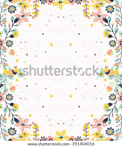Colorful natural frame background with flowers and birds,  pattern for design, Vector - stock vector