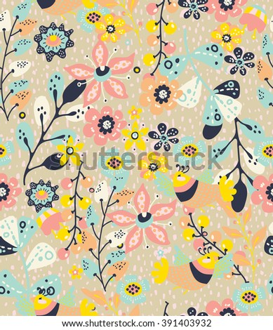 Colorful natural seamless background with flowers and birds,  pattern for design, Vector - stock vector