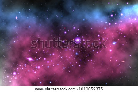 Realistic Space Wallpaper With Milky Way And Shining Stars Galaxy
