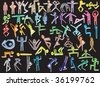 Colorful Neon People Set with Shadows (hand drawn) - stock vector