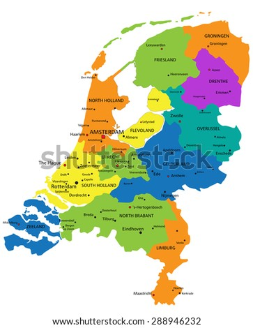 Colorful Netherlands political map with clearly labeled, separated layers. Vector illustration. - stock vector
