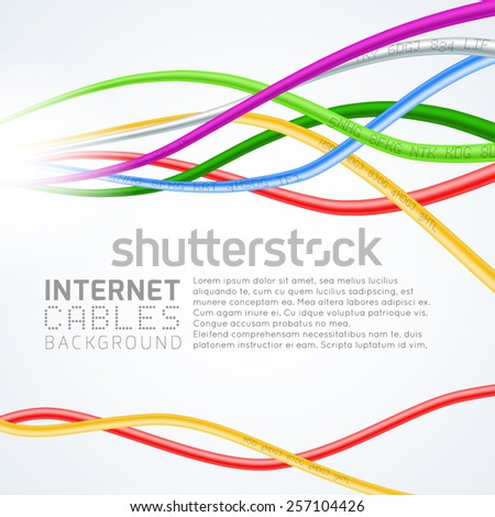 Colorful network cables - stock vector