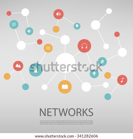Colorful Network Design Concept With Icons - stock vector