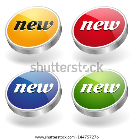 Colorful new buttons - stock vector
