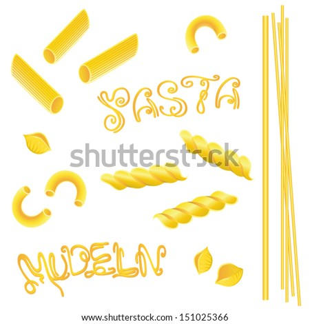 Colorful noodles, pasta vector set - stock vector