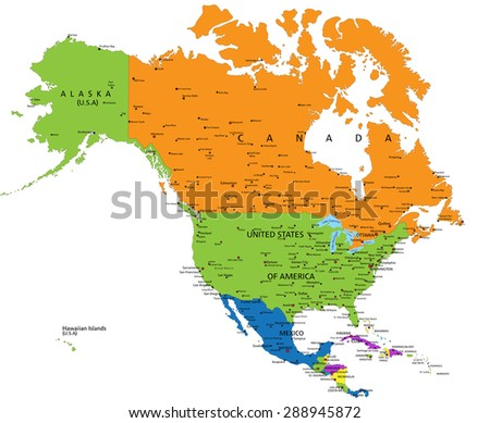Colorful North America political map with clearly labeled, separated layers. Vector illustration. - stock vector