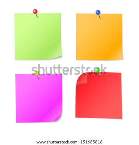Colorful notes with pin isolated on white