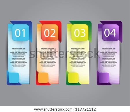 colorful number option banners - stock vector