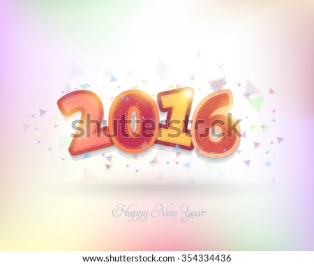 Colorful 2016 Numbers and Happy New Year Text Vector Background, Greeting Card Design