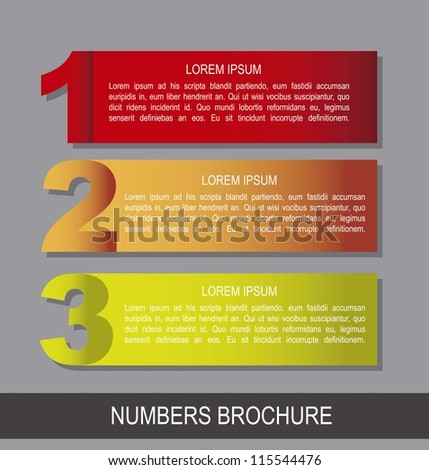 colorful numbers brochure over gray background. vector illustration