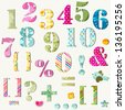 colorful numbers set and signs - stock photo