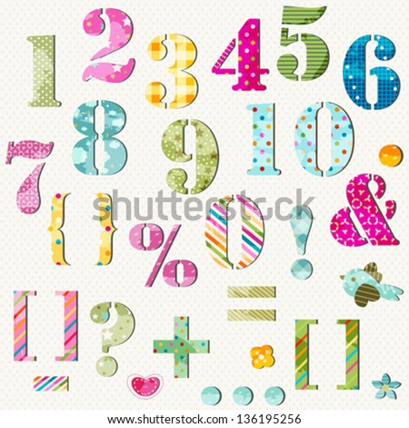 colorful numbers set and signs - stock vector