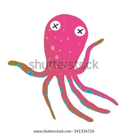 Colorful Octopus Isolated on White Cartoon Clip Art. Under the sea marine life cute cartoon illustration. Vector EPS10.  - stock vector