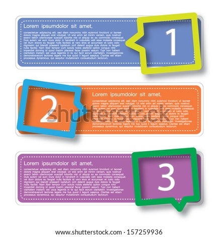 Colorful of background banner set with speech bubbles - stock vector