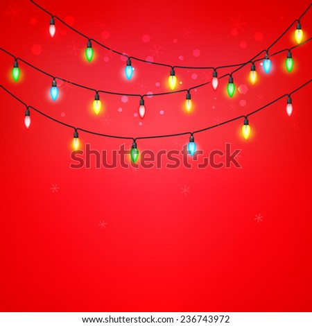 Colorful of light bulb on a red background and snowflakes. A vector illustration.