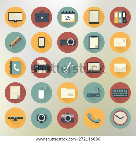 Colorful office and business icon set in circles with shadows. - stock vector