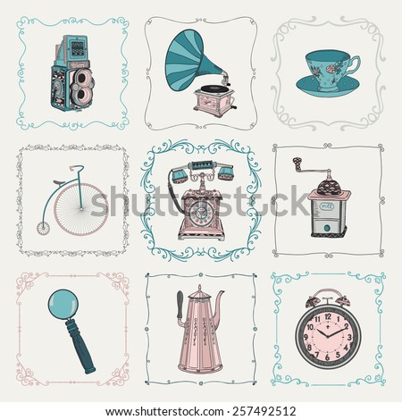 Colorful Old Style Hand-Drawn Doodle Icons and Vintage Frames. Vector Illustration. Fully Editable. Objects - stock vector