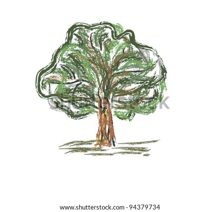 Colorful old tree . Sketch fast pencil hand drawing illustration in funny doodle style - stock vector