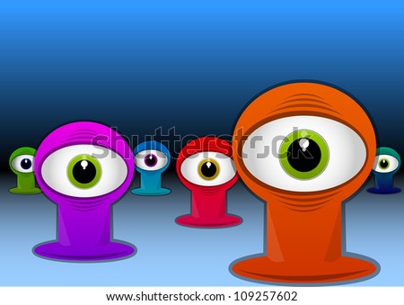 Colorful One-eyed Creatures, Red Blue Green Purple Monsters, Big Alien Eyes, vector illustration - stock vector