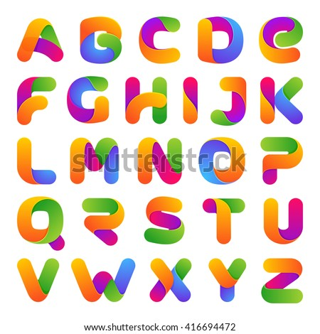 Colorful one line letters set. On white. Font style, vector design template elements for your application or corporate identity. - stock vector